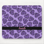 Purple tiger print hearts mouse pads