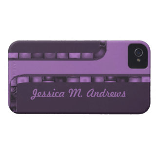 purple tile border iPhone 4 cover