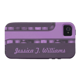 purple tile border iPhone 4 cases