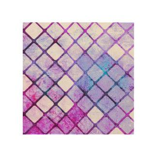 Purple Tiled Geometric Design Wood Canvases
