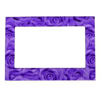 Purple Tiled Roses Magnetic Picture Frame