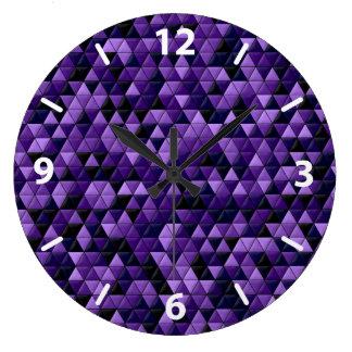 Purple Tiles Large Clock