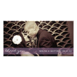 PURPLE TINT SHEER LINE | WEDDING THANK YOU CARD PHOTO CARD TEMPLATE