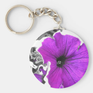 Purple Tinted Black and White Petunias Basic Round Button Key Ring