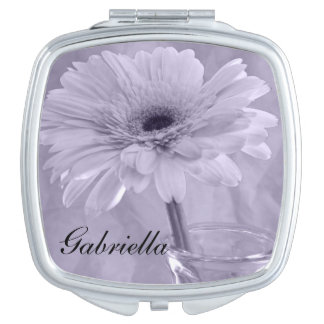 Purple Tinted Daisy Wedding Compact Mirrors