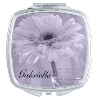 Purple Tinted Daisy Wedding Makeup Mirror