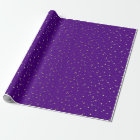 Purple Tiny Golden Stars Wrap Paper