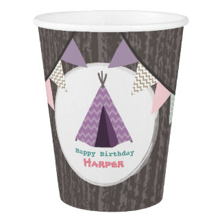Purple Tipi Kids Birthday Party Cups