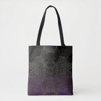 Purple to Black Fade Gold Mehndi Tote Bag