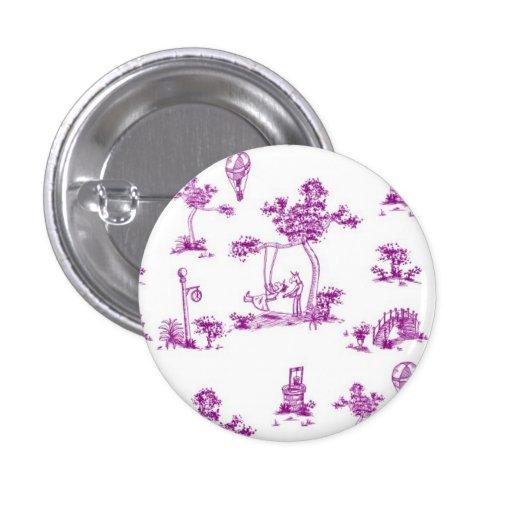 Purple Toile Unicorn Button