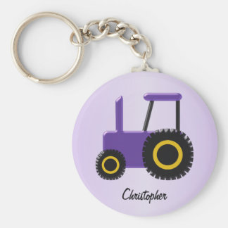 Purple Tractor Just Add Name Key Ring