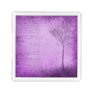 Purple Tree and Script Serving Tray