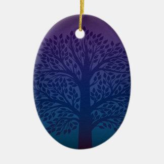 Purple Tree Ceramic Oval Decoration
