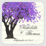 Purple Tree Dancing Blooms Square Stickers