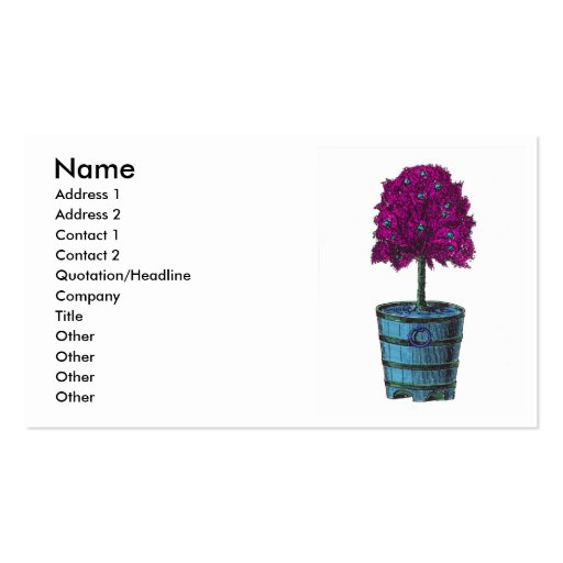 Purple tree in blue bucket image business card templates