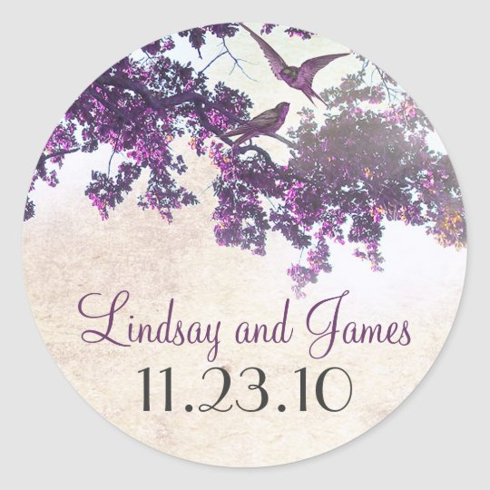 purple tree love birds wedding stickers