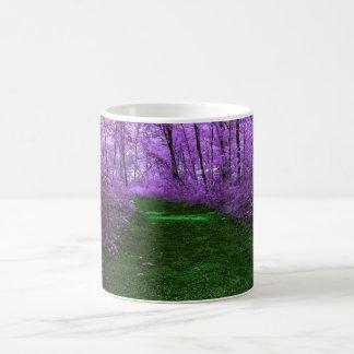 Purple Tree Mystic Woods and Emerald Green Path Basic White Mug