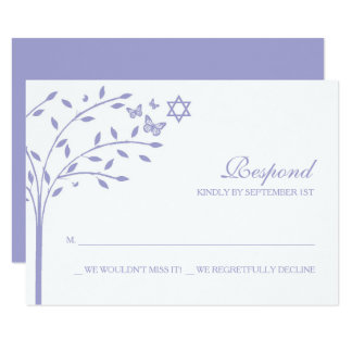 Purple Tree of Life with Star of David RSVP Card