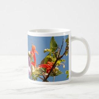 Purple Tree Orchid and Orange Flowers Coffee Mugs