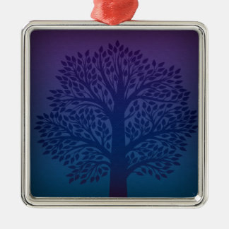 Purple Tree Silver-Colored Square Decoration