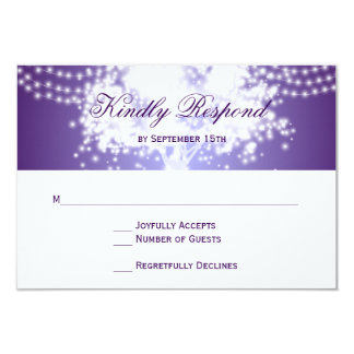 Purple Tree String Lights Wedding RSVP Cards