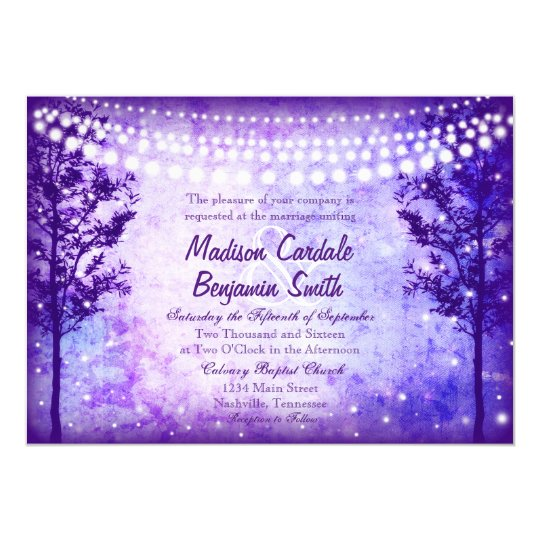 Purple Trees String Lights Wedding Invitations