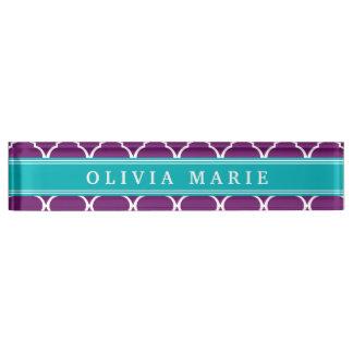 Purple Trellis Pattern Turquoise Name Nameplate