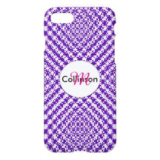 Purple Trendy Herringbone Patterned Personalized iPhone 8/7 Case