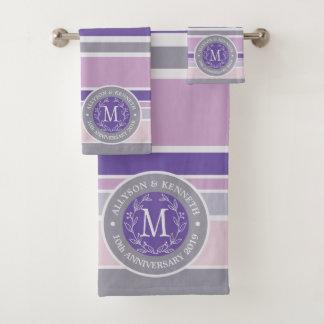 Purple Trendy Stripes Monogram Wreath Laurel Leaf Bath Towel Set