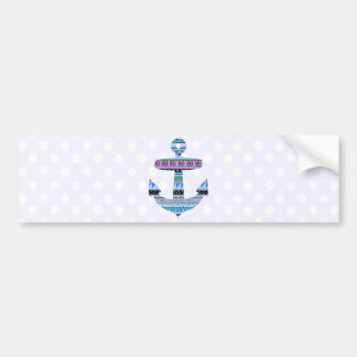 Purple Tribal Anchor and polka dots Bumper Sticker