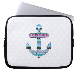 Purple Tribal Anchor and polka dots Laptop Sleeve
