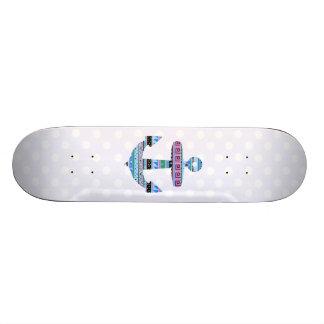 Purple Tribal Anchor and polka dots Custom Skate Board