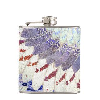 Purple Tribal Butterfly Wings Art Deco Pattern Hip Flask