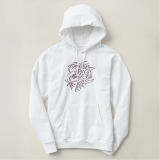 Purple tribal dragon embroidered hoodie