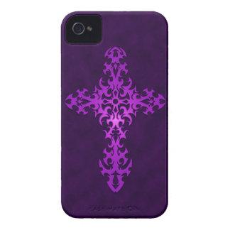 Purple Tribal Gothic Cross iPhone 4 Cases