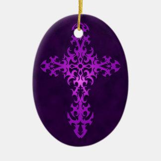 Purple Tribal Gothic Cross Christmas Ornament