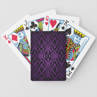 Purple tribal shapes pattern bicycle playing cards