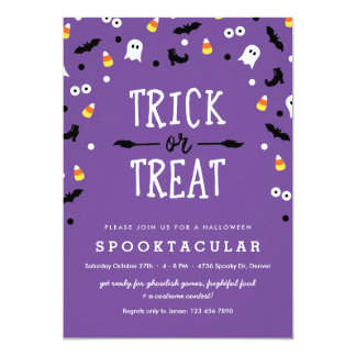 Purple Trick or Treat Kids Halloween Party Invites
