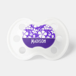 Purple Tropical Flower Baby Pacifier