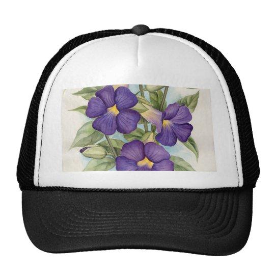 Purple Tropical Flower Painting - Multi Cap