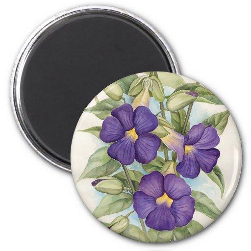 Purple Tropical Flower Painting - Multi Refrigerator Magnets