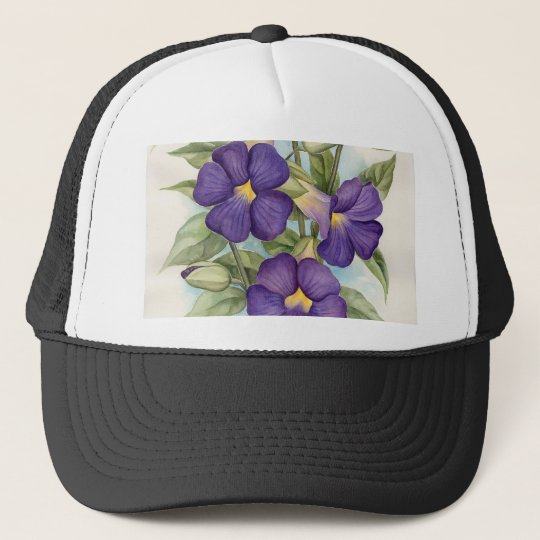 Purple Tropical Flower Painting - Multi Trucker Hat