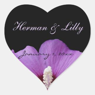 Purple Tropical Flower Personalized Wedding Heart Sticker