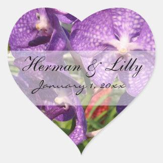 Purple Tropical Flowers Personalized Wedding Heart Sticker