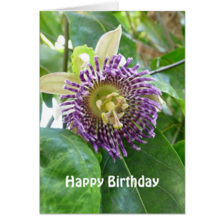 Purple Tropical Passion  Flower Birthday Template Card