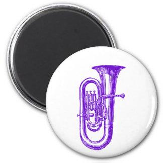 Purple Tuba 6 Cm Round Magnet