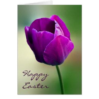 Purple Tulip Easter Greeting Card