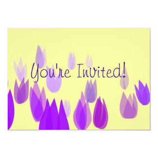 Purple Tulip Field 13 Cm X 18 Cm Invitation Card