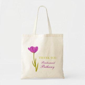 Purple tulip flower art wedding bridesmaid bag