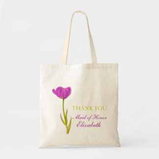 Purple tulip flower art wedding maid of honor bag